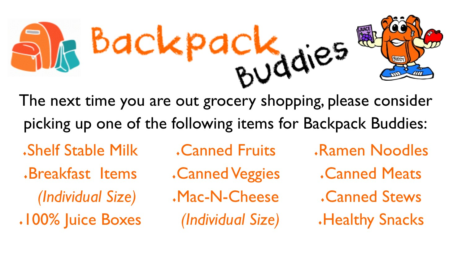backpack buddies items